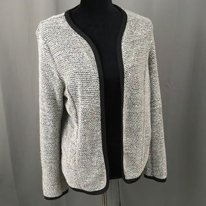 NY Collection sequined knit blazer open cardigan